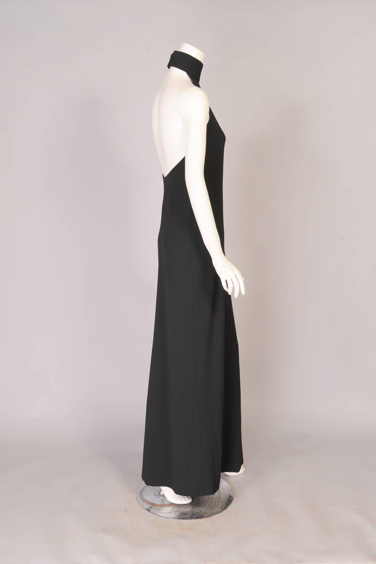 1960's Norman Norell Elegant Black Halter Dress, ex Model & Muse Denise 2