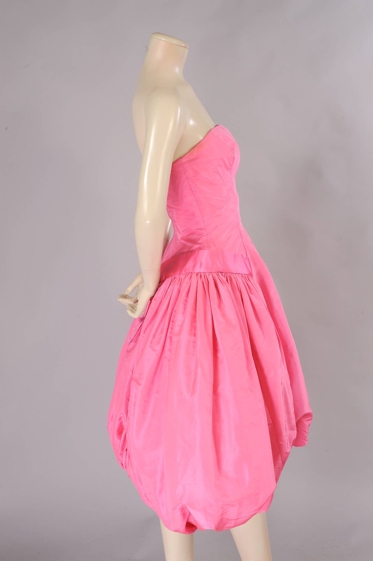 1950's Helena Barbieri Strapless Pink Silk Bubble Hem Evening Dress In Excellent Condition For Sale In New Hope, PA