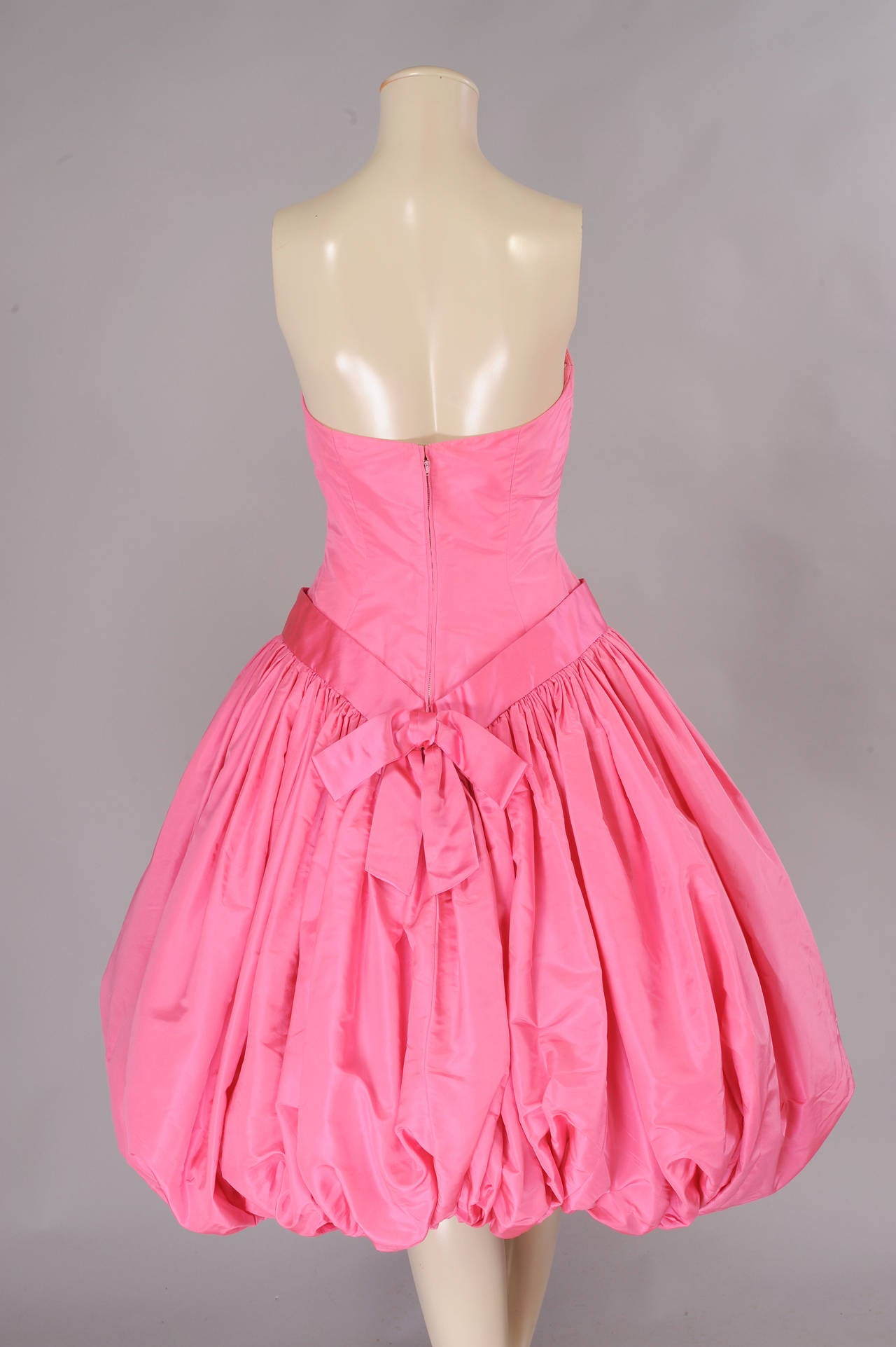 Women's 1950's Helena Barbieri Strapless Pink Silk Bubble Hem Evening Dress For Sale