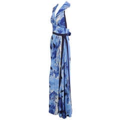 Michael Vollbracht Abstract Print Silk Halter Dress with Diamante