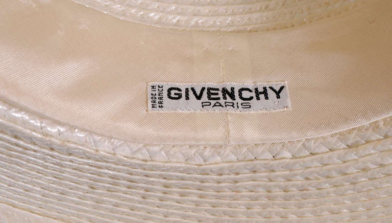 Givenchy Couture White Straw Boater with Black Straw Hatband 2