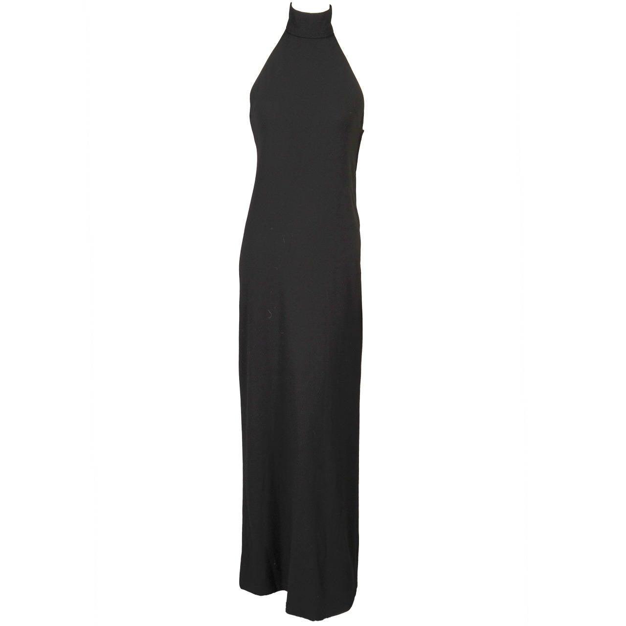 1960's Norman Norell Elegant Black Halter Dress, ex Model & Muse Denise