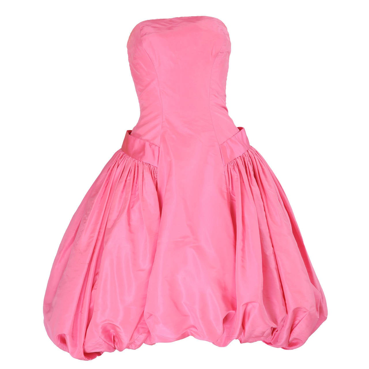 1950's Helena Barbieri Strapless Pink Silk Bubble Hem Evening Dress For Sale