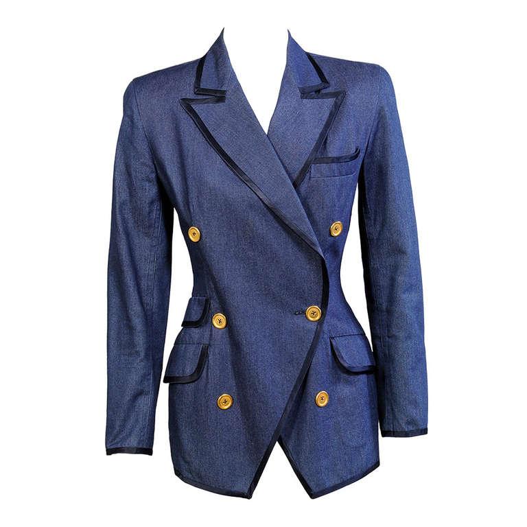 Donna Karan Satin Trimmed Silk Denim Jacket