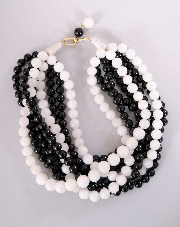 givenchy haute couture black and white glass bead necklace