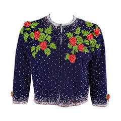 1950's Beaded Strawberry Motif Cashmere Sweater