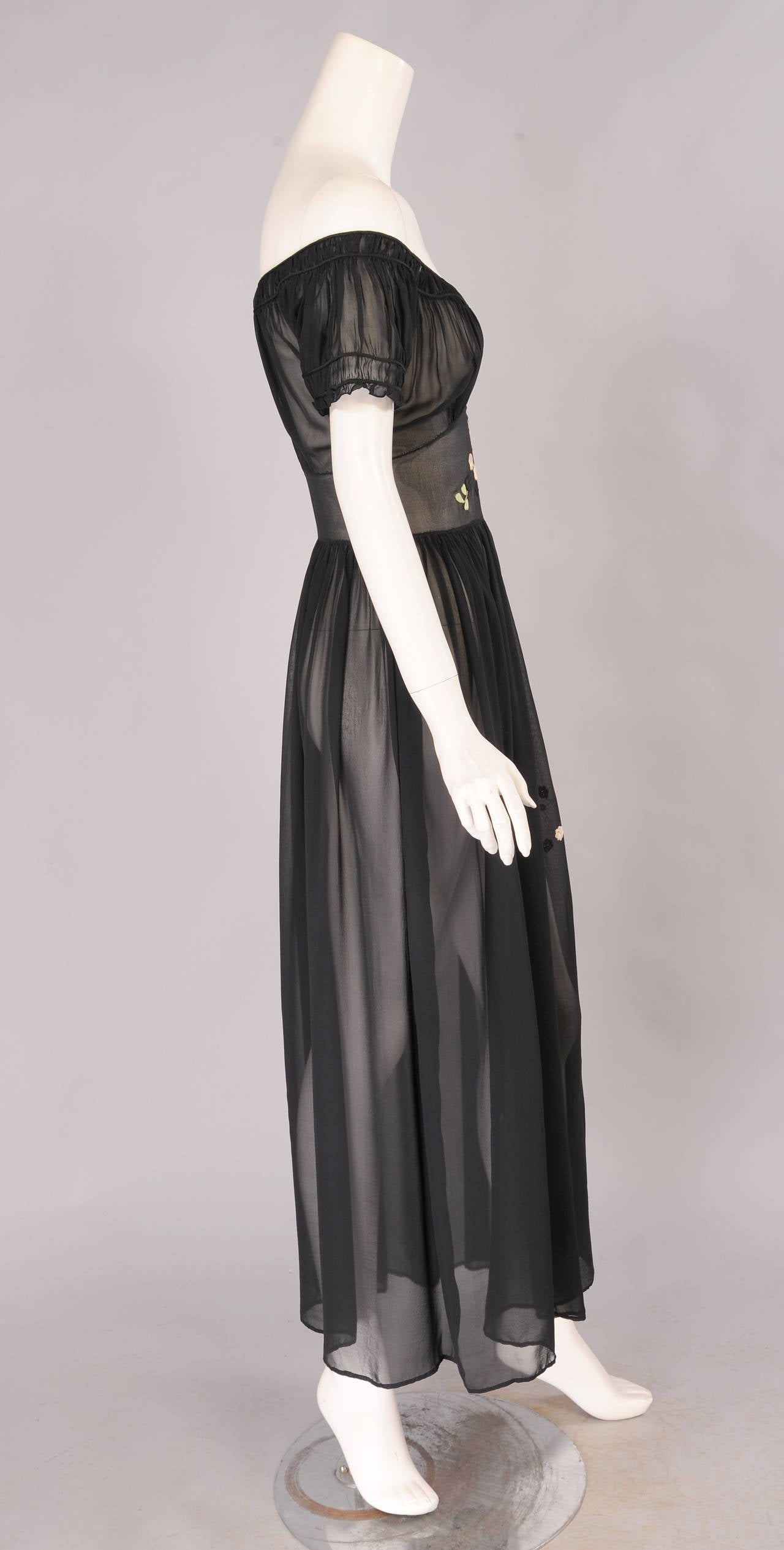Black 1930's Sheer Silk Chiffon Dress with Floral Appliques For Sale