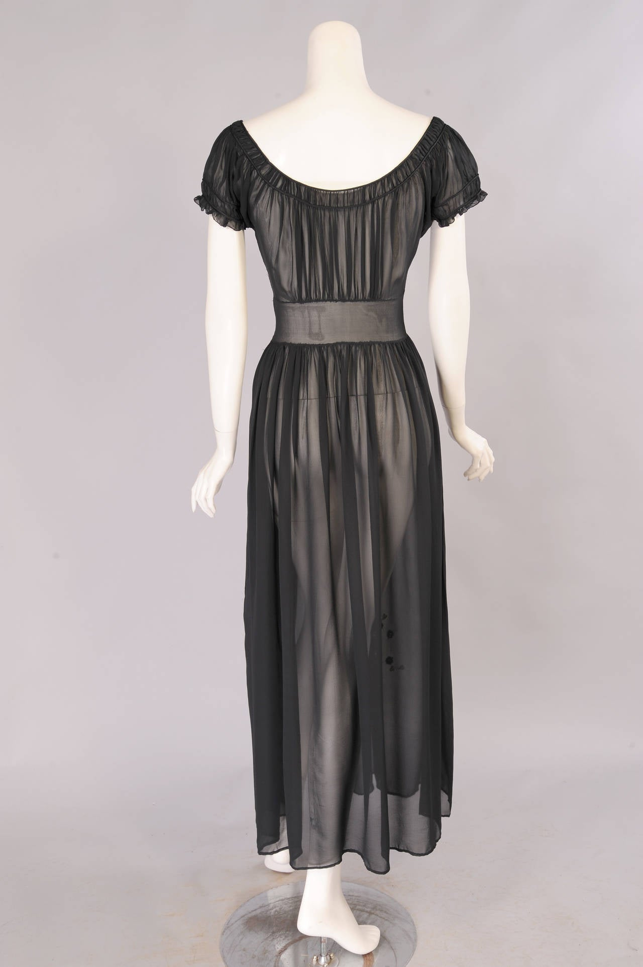 1930's Sheer Silk Chiffon Dress with Floral Appliques In Excellent Condition For Sale In New Hope, PA