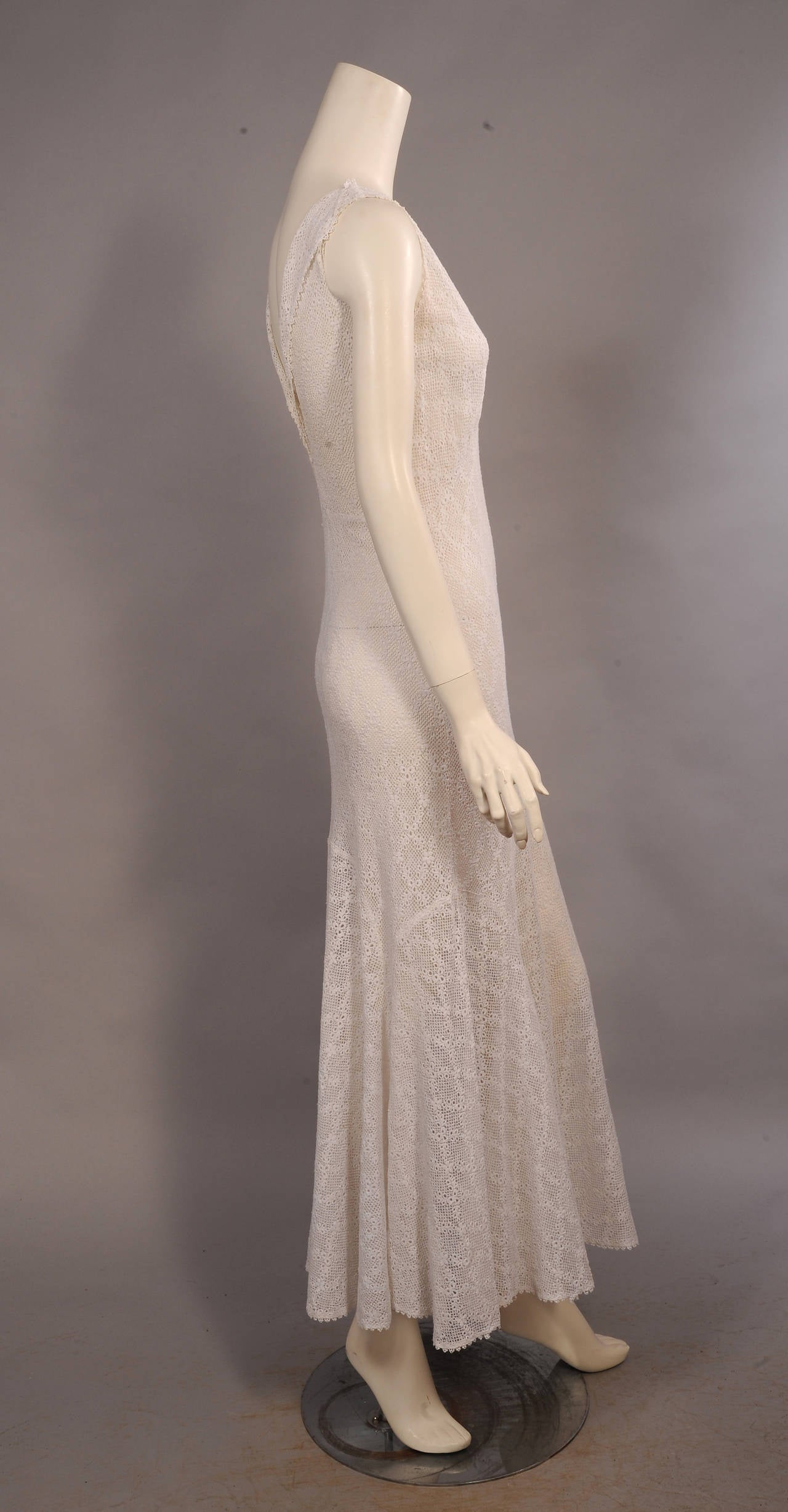 1930\'s Bias Cut White Lace Evening Dress at 1stdibs