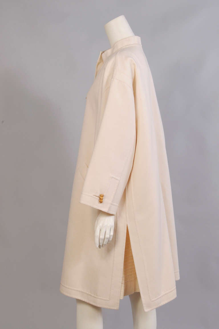 Balmain Haute Couture Canvas and Silk Coat & Dress by Oscar de la Renta 3