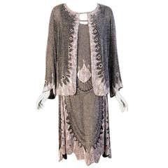 Pristine 1920's Beaded Cotton Flapper Dress & Jacket