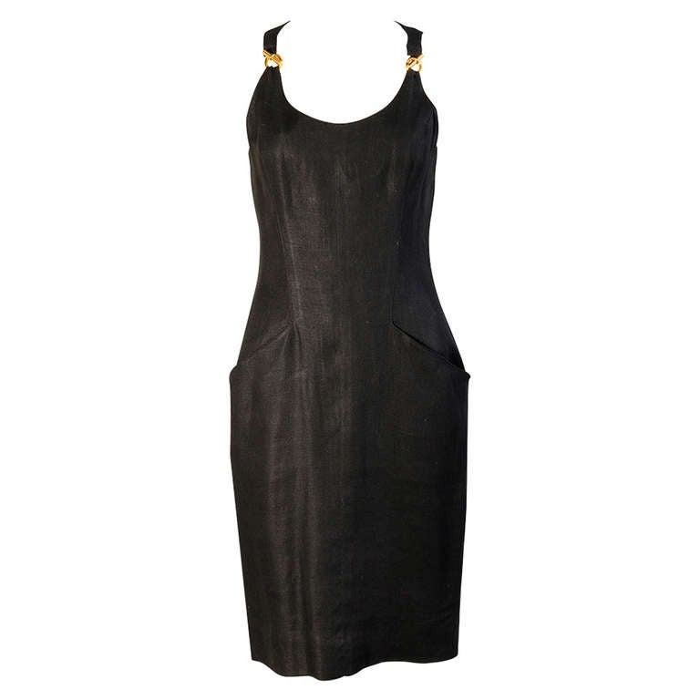 Hermes Paris Black Linen Dress with Gold Toggle Hardware