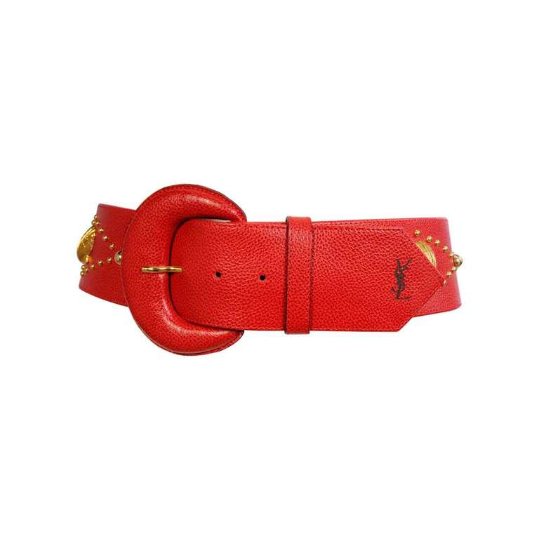Yves Saint Laurent Red Leather with Sea Shells For Sale
