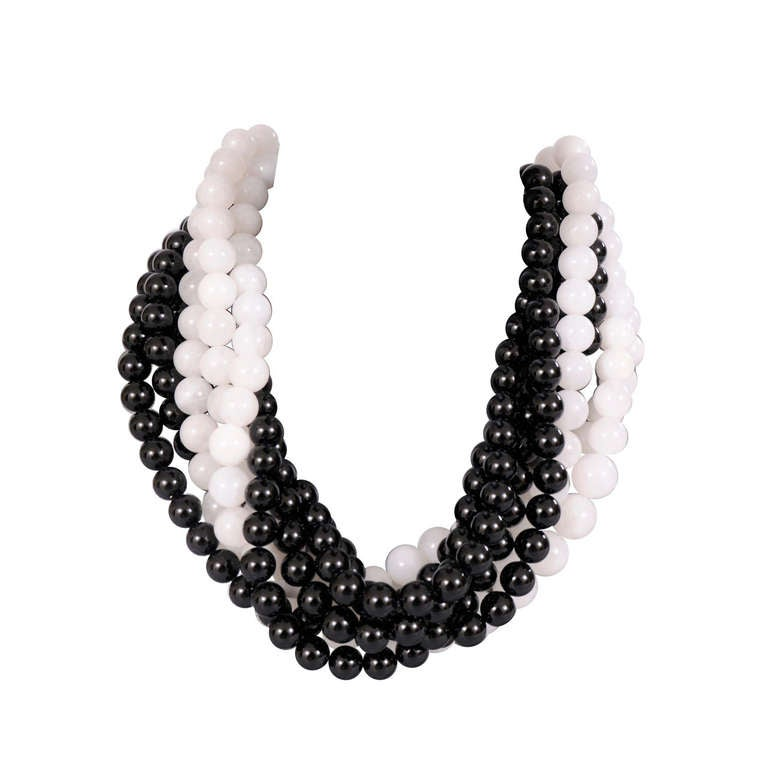Givenchy Haute Couture Black & White Glass Bead Necklace For Sale