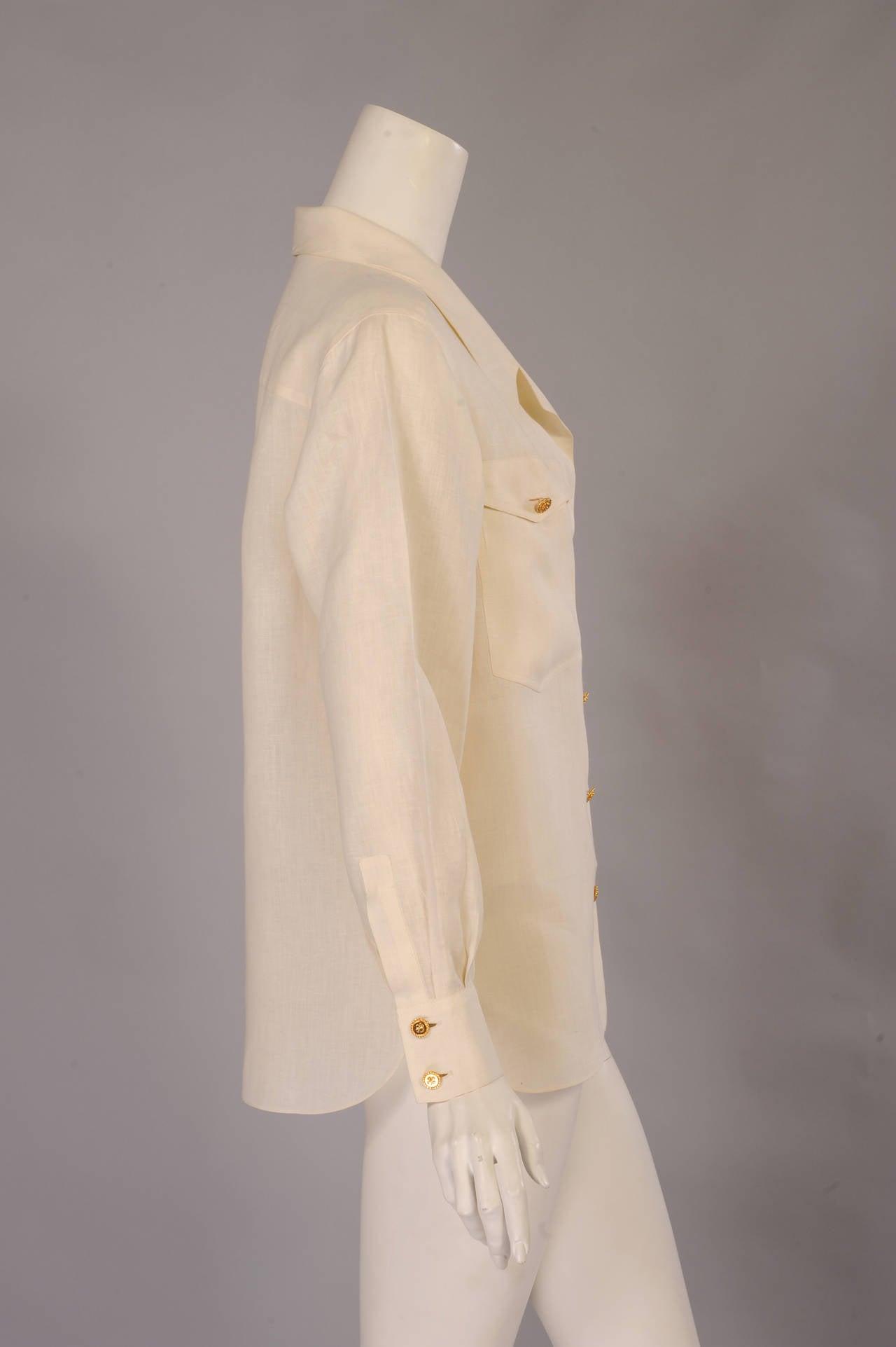 Chanel Cream Linen Blouse 2