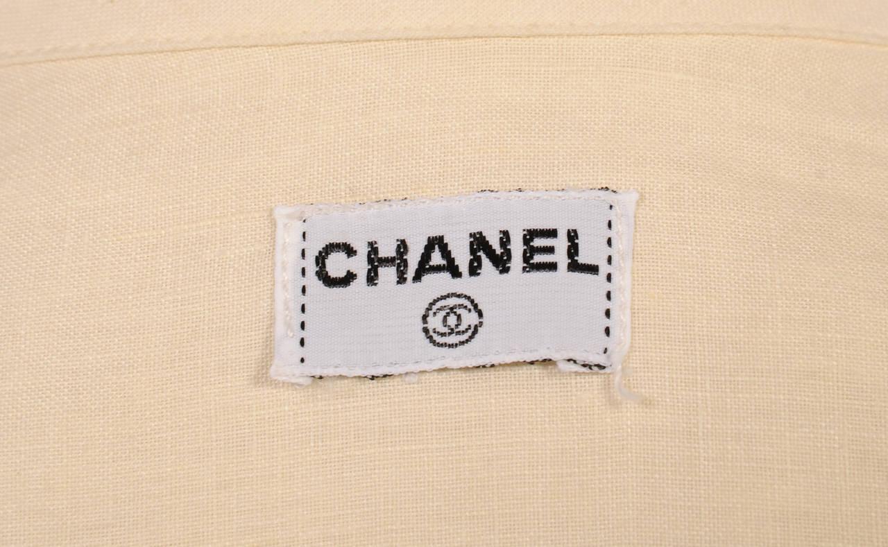 Chanel Cream Linen Blouse 4