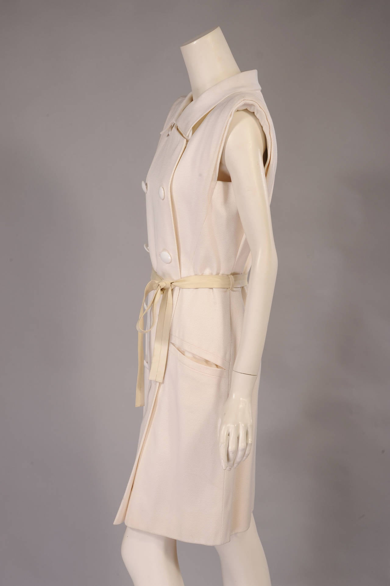 Yves Saint Laurent Haute Couture White Pique Summer Dress 3