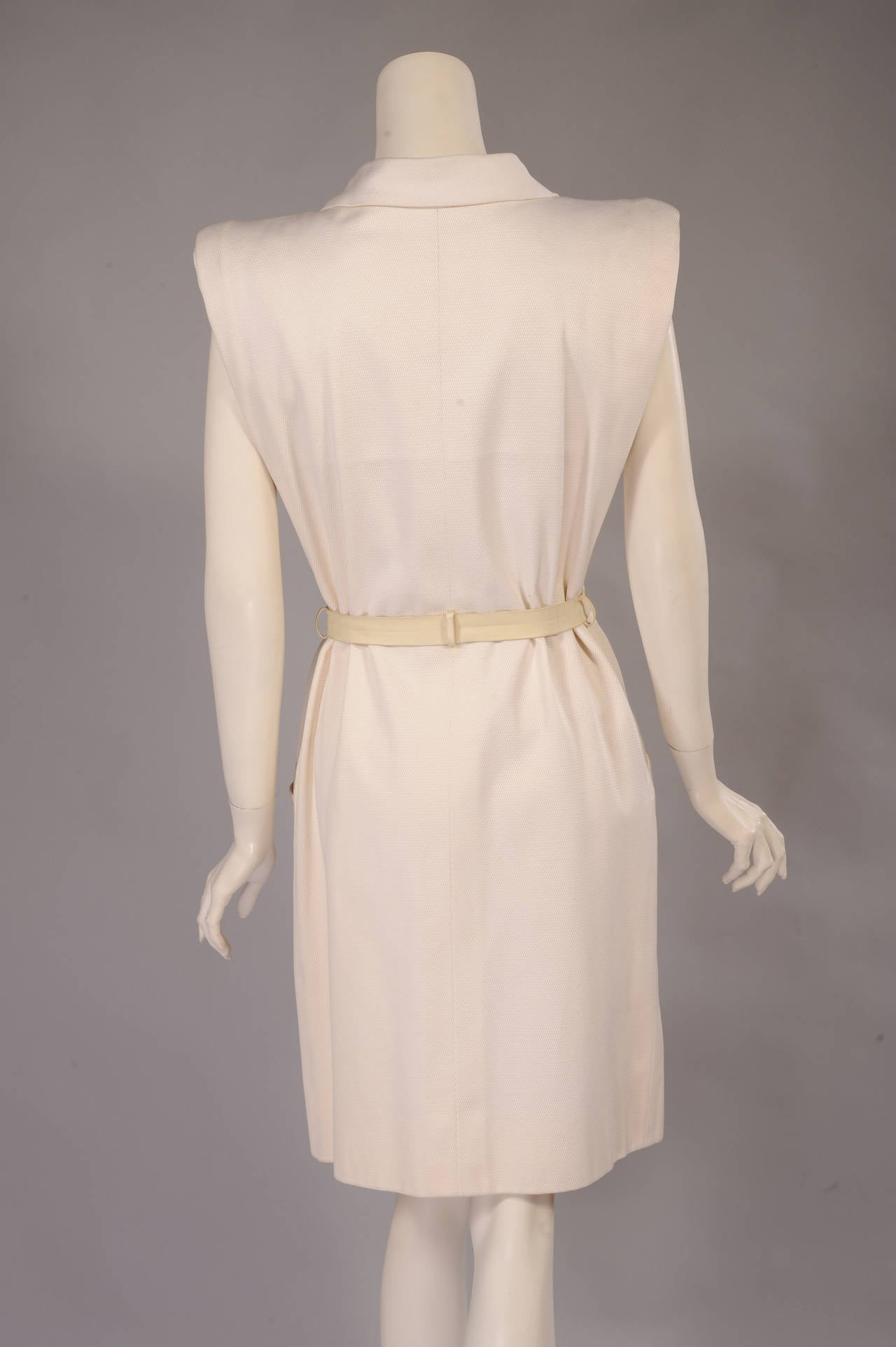 Yves Saint Laurent Haute Couture White Pique Summer Dress 4