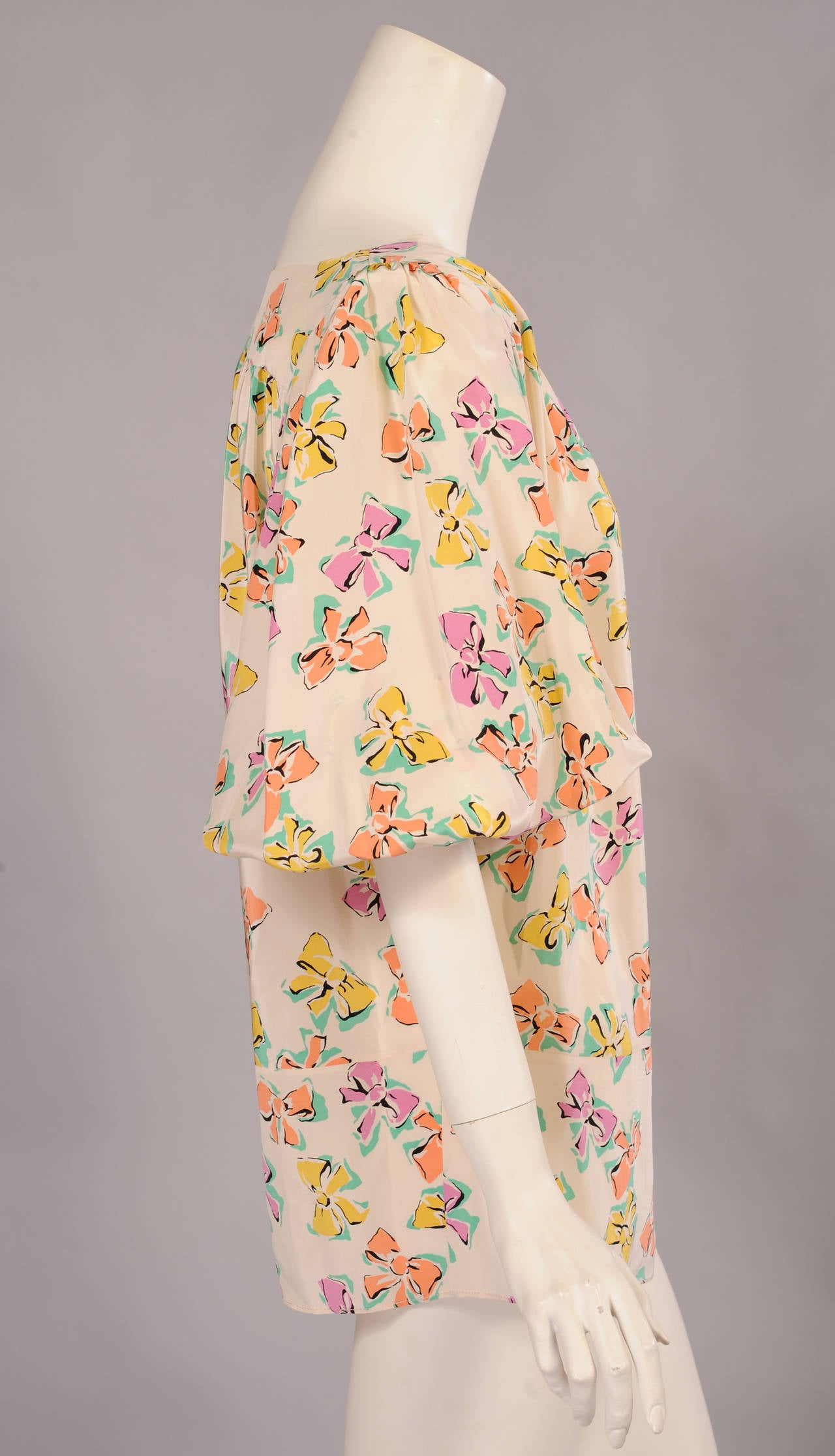 Chanel Pastel Bow Printed Silk Blouse 2