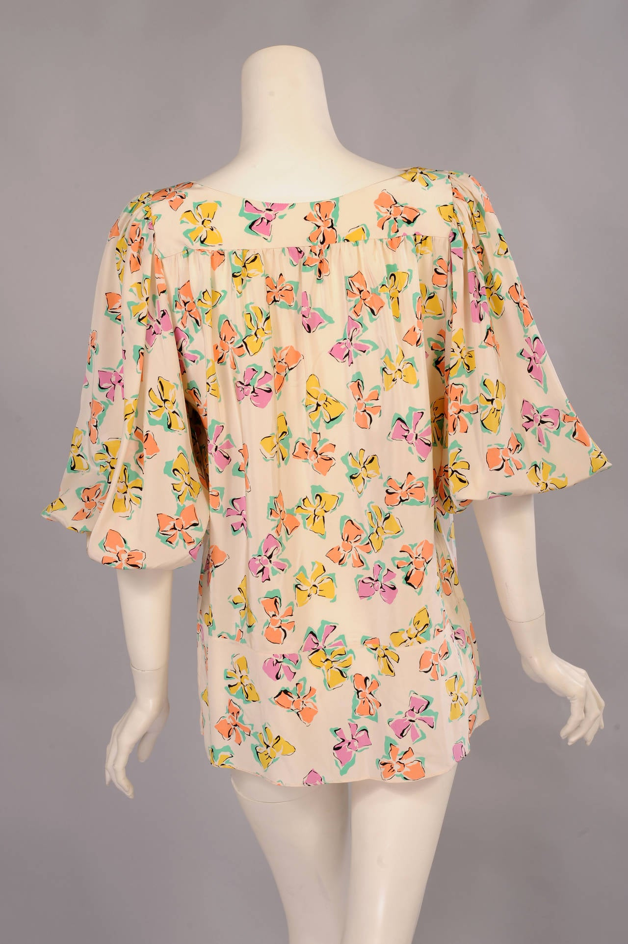 Chanel Pastel Bow Printed Silk Blouse 3