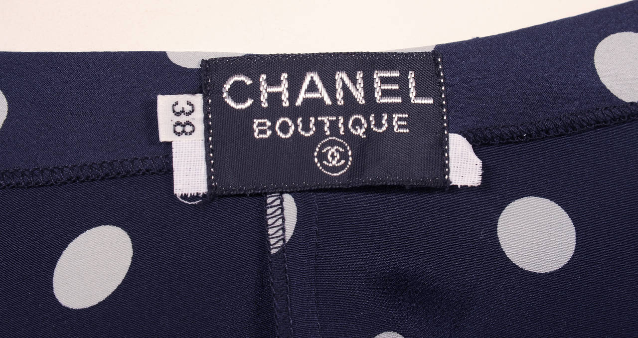 Chanel Camisole top, Navy & White Polka Dot 3