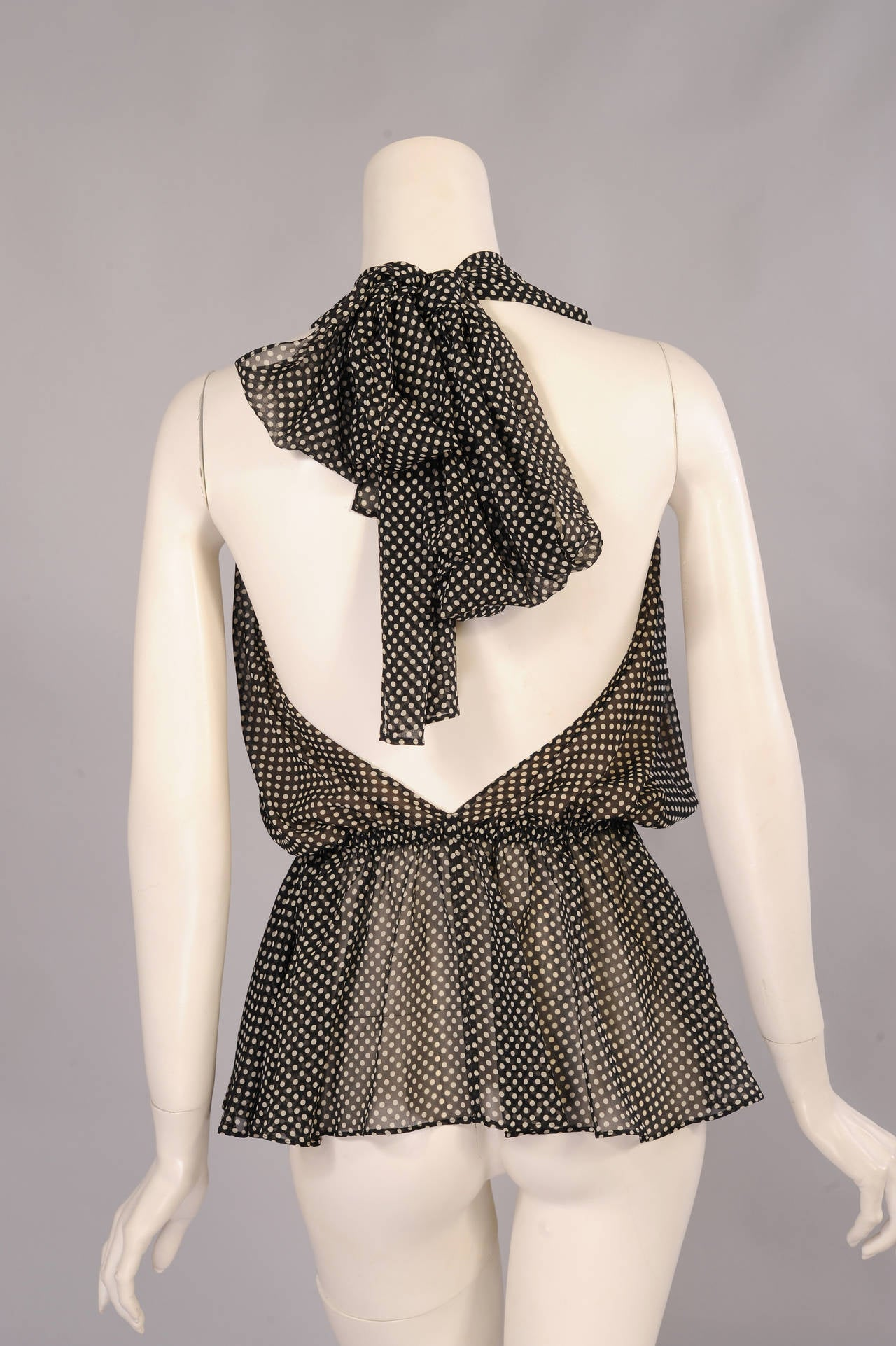 Yves Saint Laurent Polka Dot Chiffon Halter Top 3