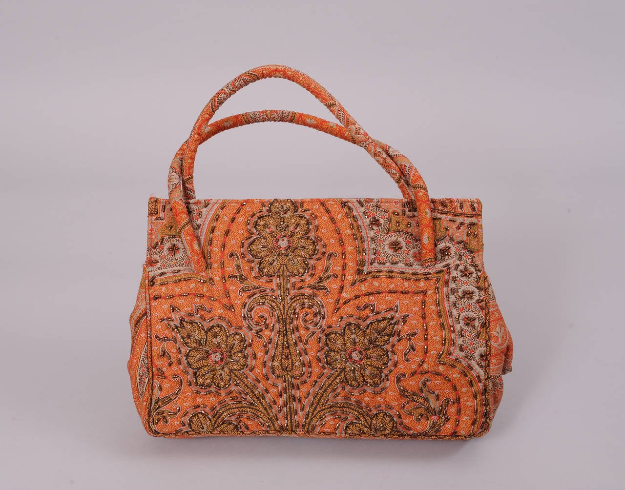 Brown Laddie Northridge 1950's Beaded Paisley Bag & Hat For Sale