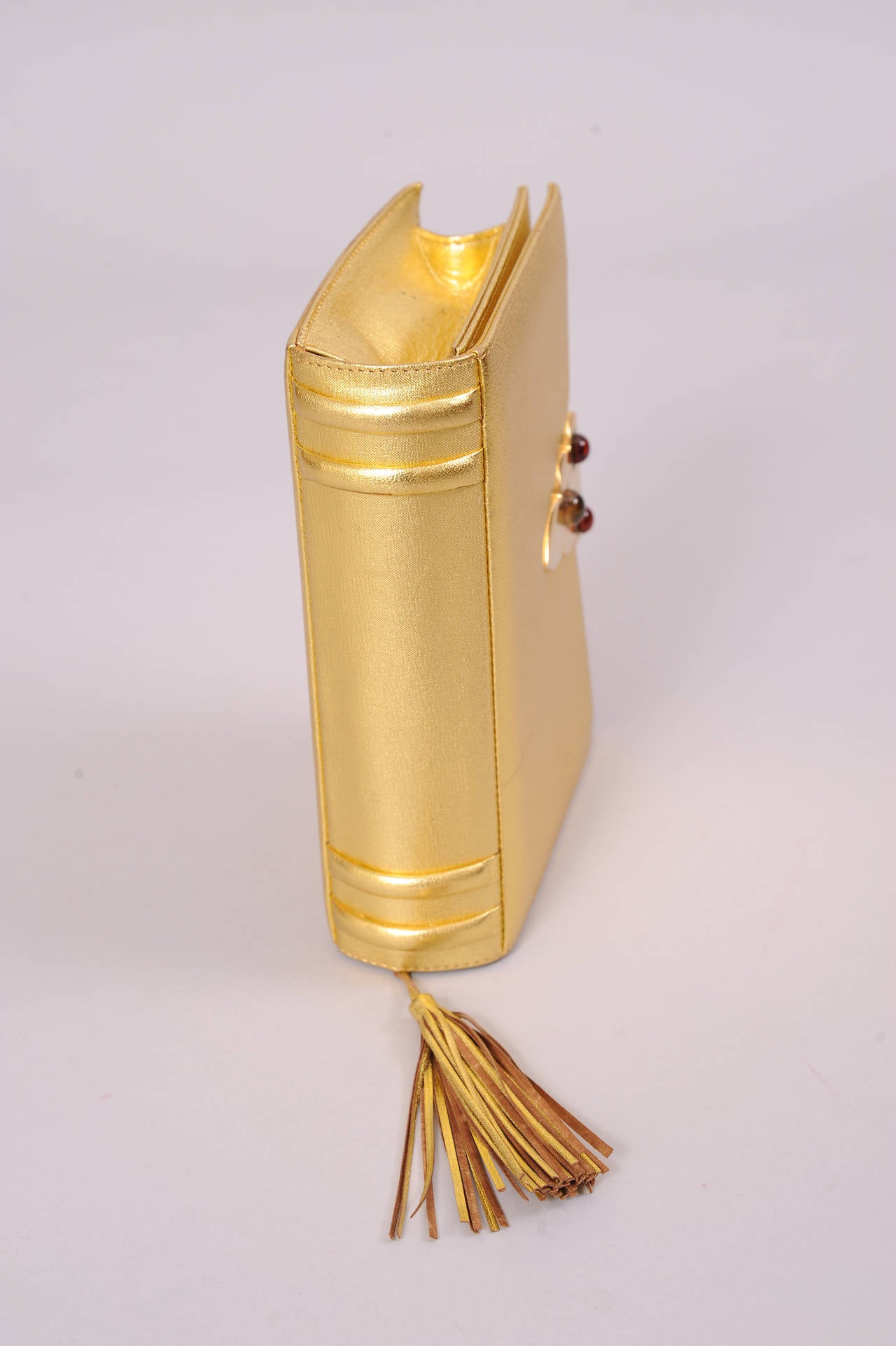 paloma picasso gold book bag jeweled clasp at 1stdibs