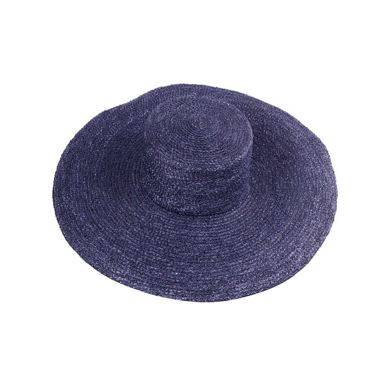 Givenchy Couture Runway Ete 96 Collection Navy Straw Hat 1