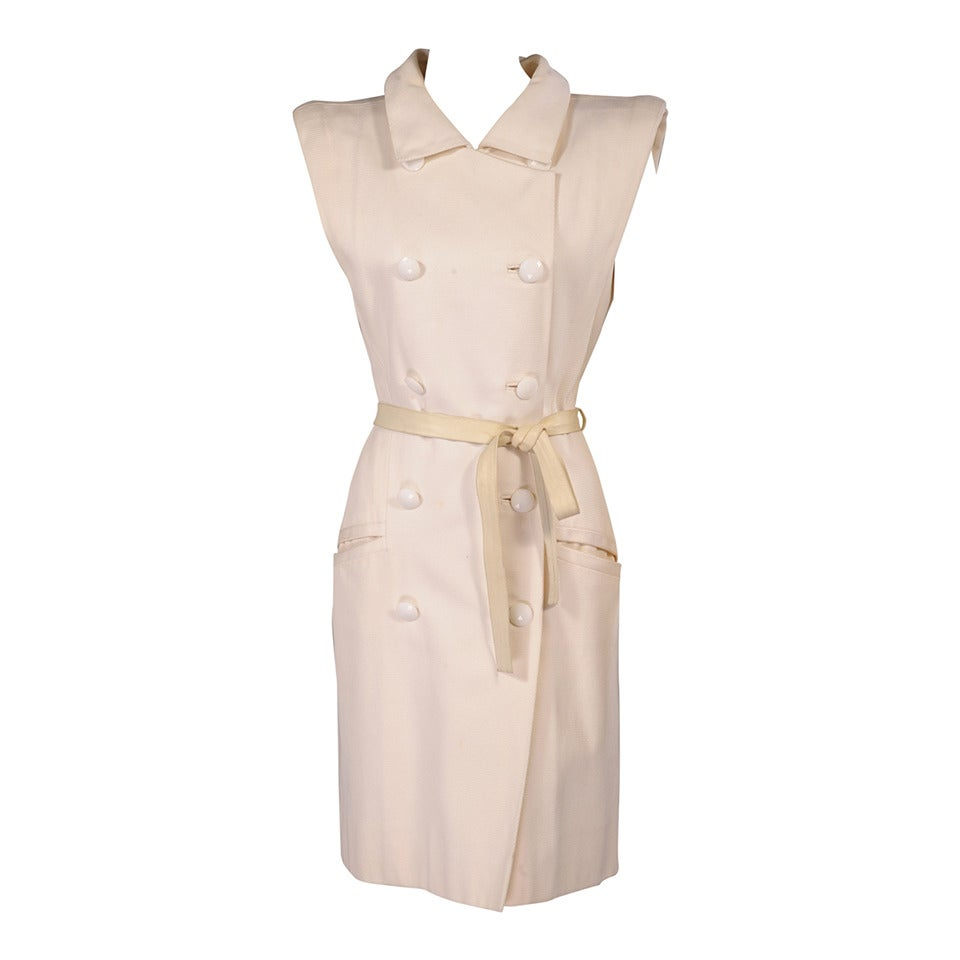 Yves Saint Laurent Haute Couture White Pique Summer Dress 1