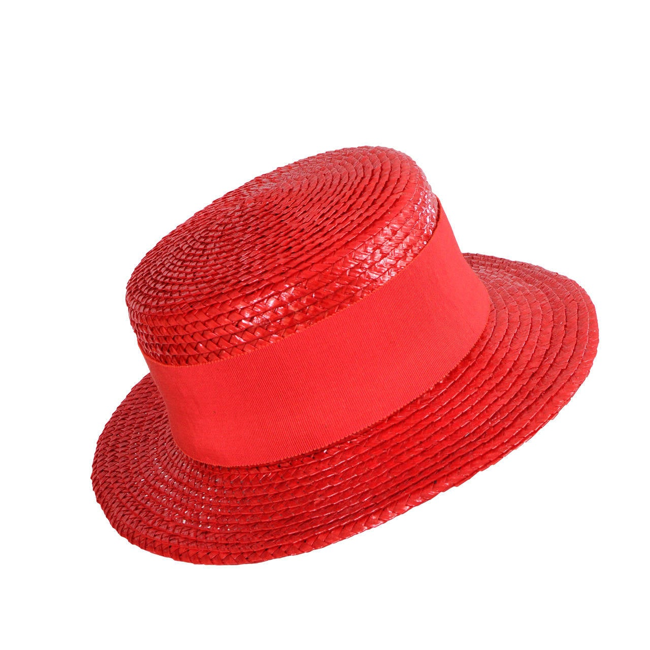 Givenchy Couture Red Straw Boater For Sale