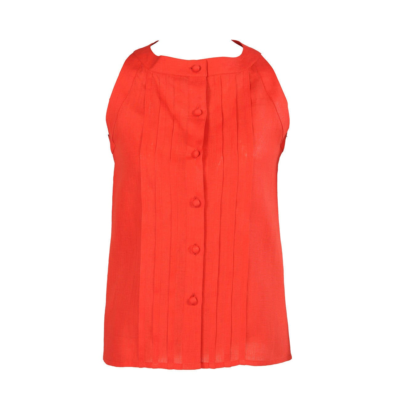 Chanel Red Linen Blouse with Pin Tucks For Sale