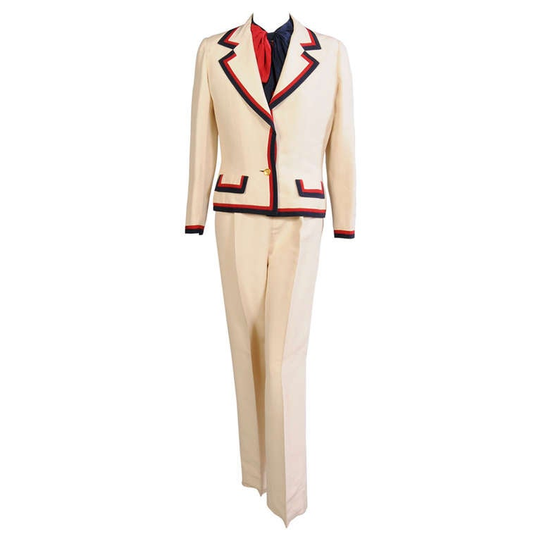 Chanel haute couture bastille day three piece silk suit for Haute couture suits