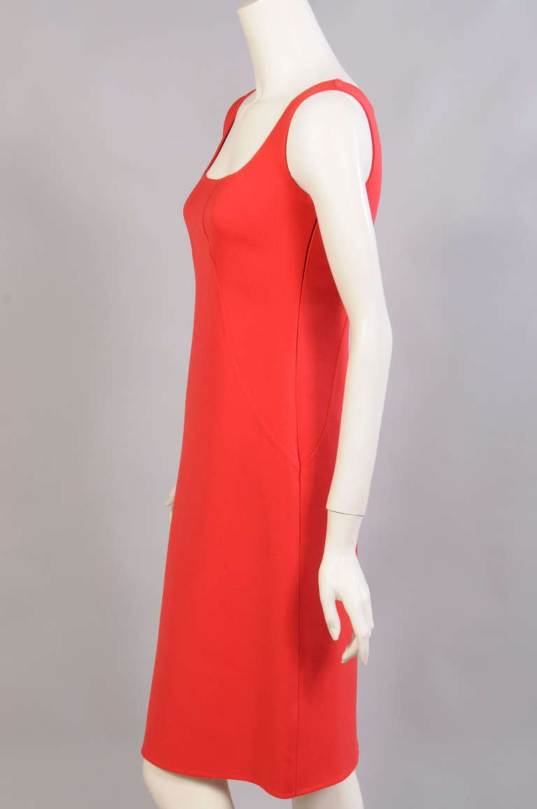 Oscar de la Renta Red Sheath Dress In Excellent Condition For Sale In New Hope, PA