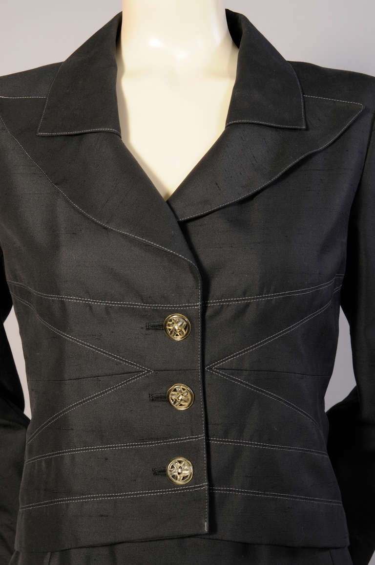 Christian Lacroix Black Silk Suit In Excellent Condition For Sale In New Hope, PA