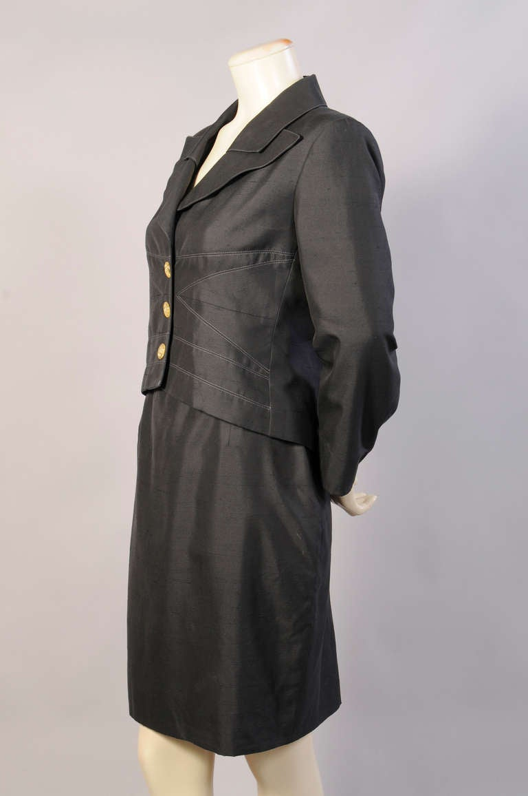 Women's Christian Lacroix Black Silk Suit For Sale