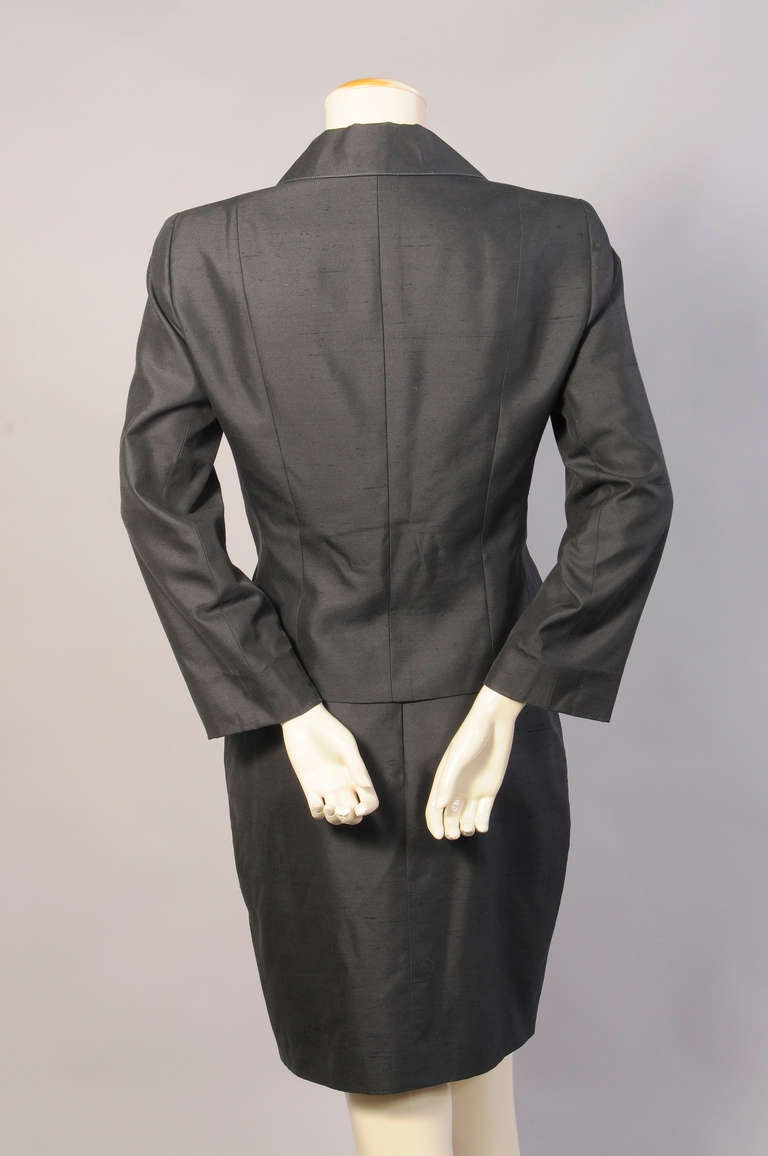 Christian Lacroix Black Silk Suit For Sale 1