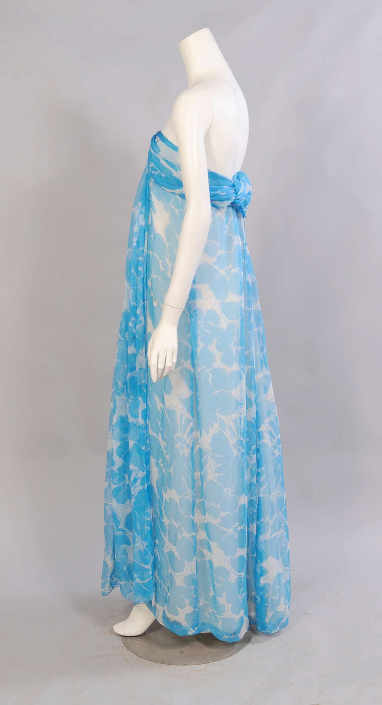 Women's Givenchy Haute Couture Blue and White Strapless Silk Chiffon Dress and Shawl For Sale
