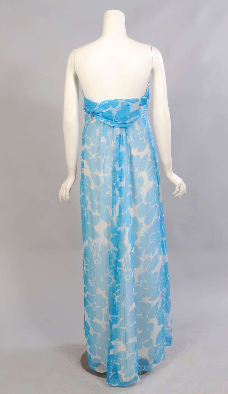 Givenchy Haute Couture Blue and White Strapless Silk Chiffon Dress and Shawl For Sale 1