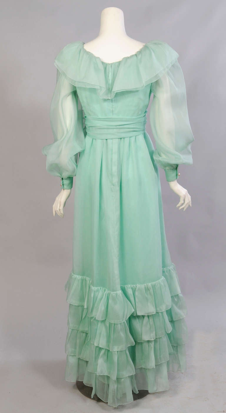 Blue Givenchy Haute Couture Aquamarine Silk Organza Evening Dress For Sale