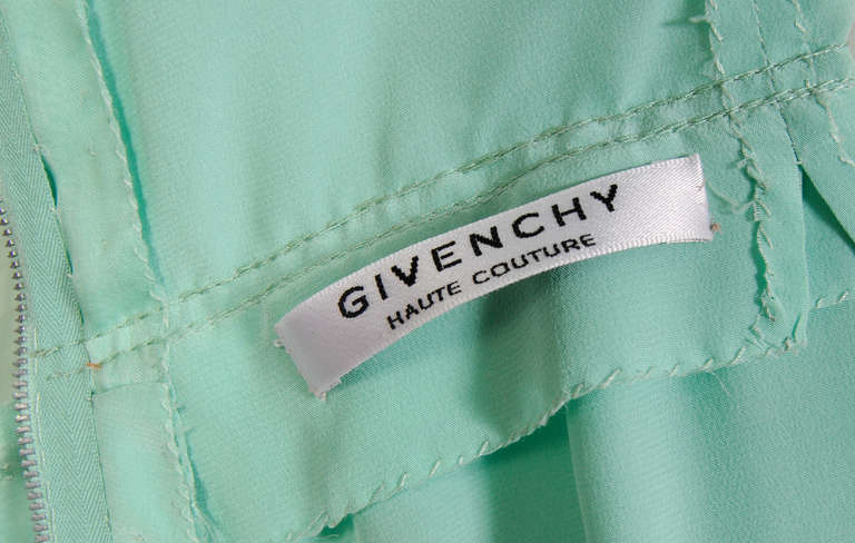 Women's Givenchy Haute Couture Aquamarine Silk Organza Evening Dress For Sale