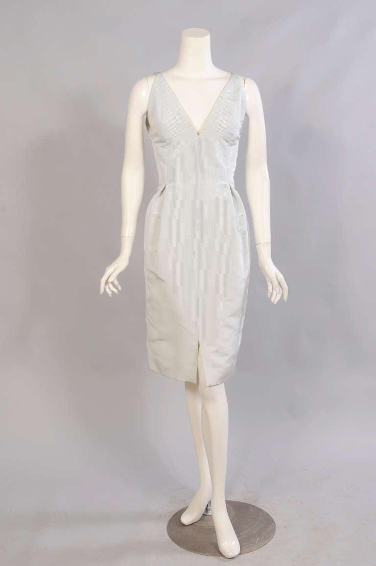 Geoffrey Beene Pale Green & White Striped Silk Dress & Jacket 2