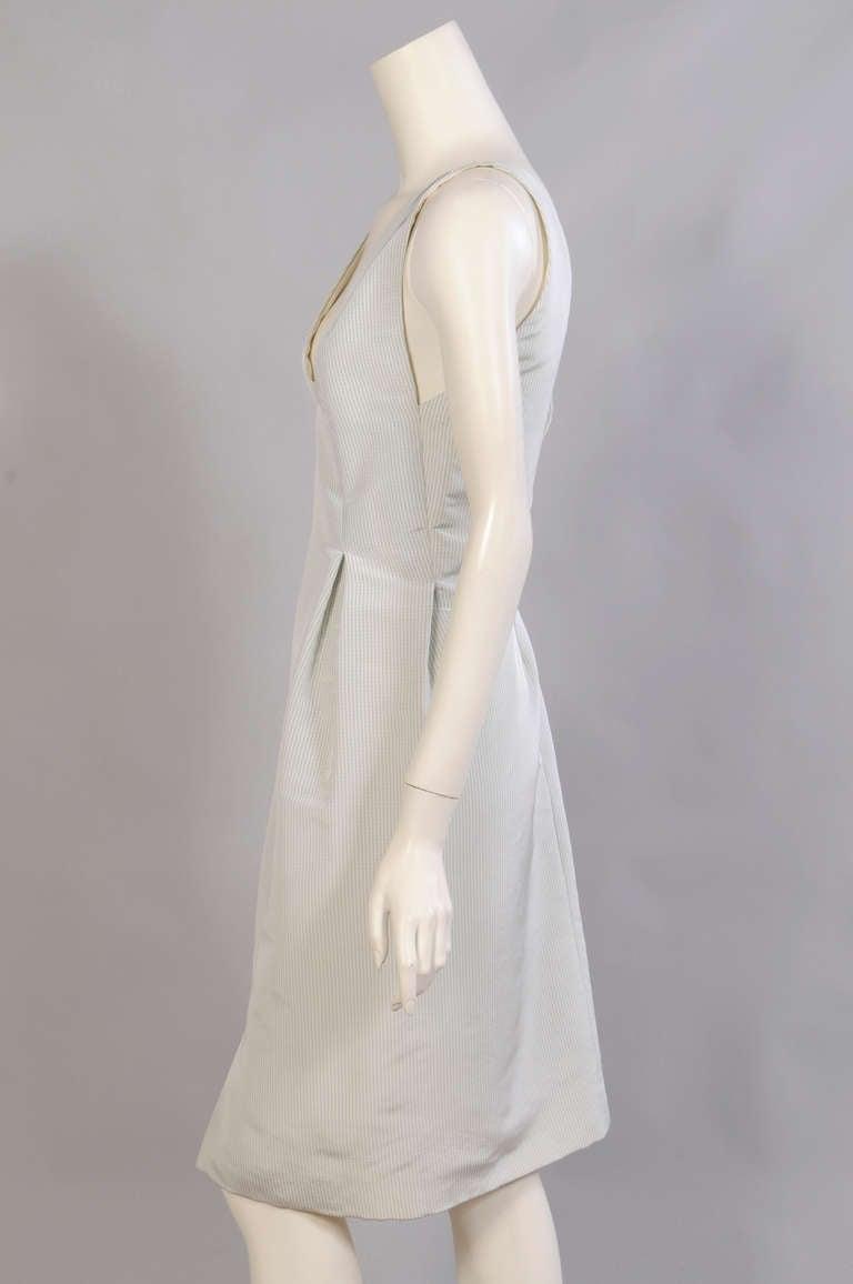 Geoffrey Beene Pale Green & White Striped Silk Dress & Jacket 3