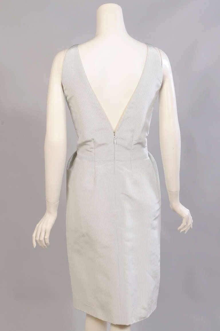 Geoffrey Beene Pale Green & White Striped Silk Dress & Jacket 4