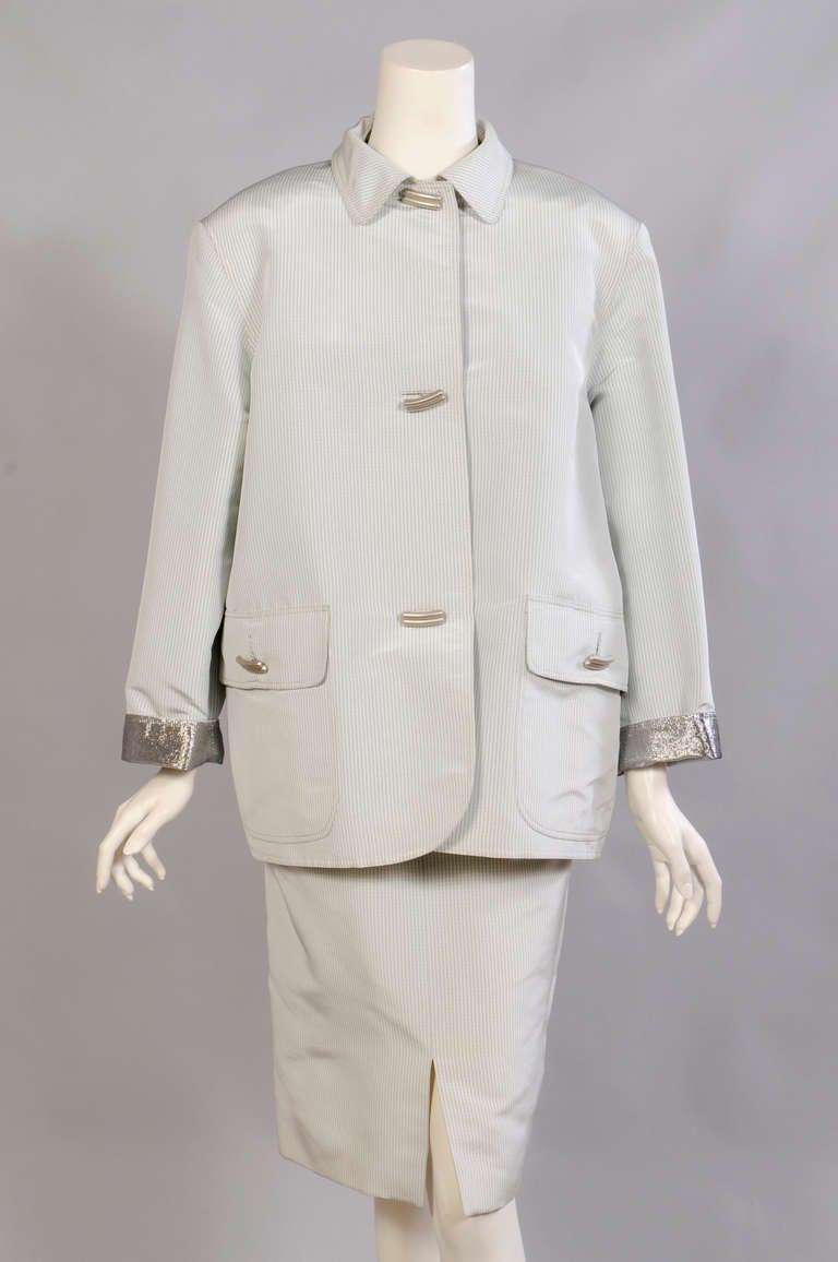 Geoffrey Beene Pale Green & White Striped Silk Dress & Jacket 5