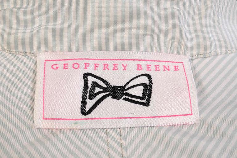 Geoffrey Beene Pale Green & White Striped Silk Dress & Jacket 7