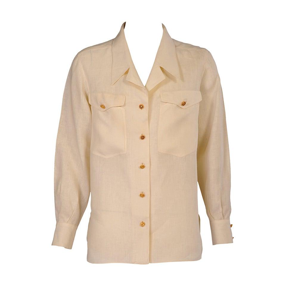 Chanel Cream Linen Blouse 1