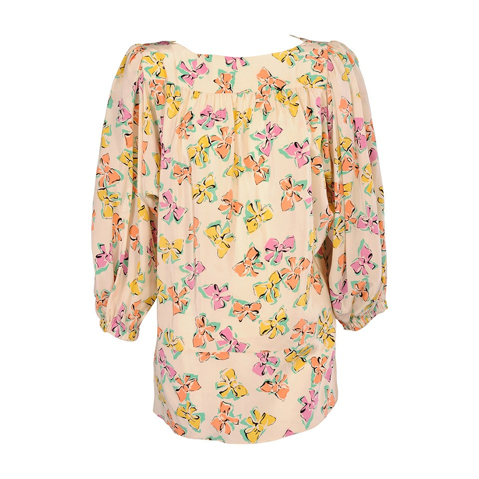 Chanel Pastel Bow Printed Silk Blouse 1