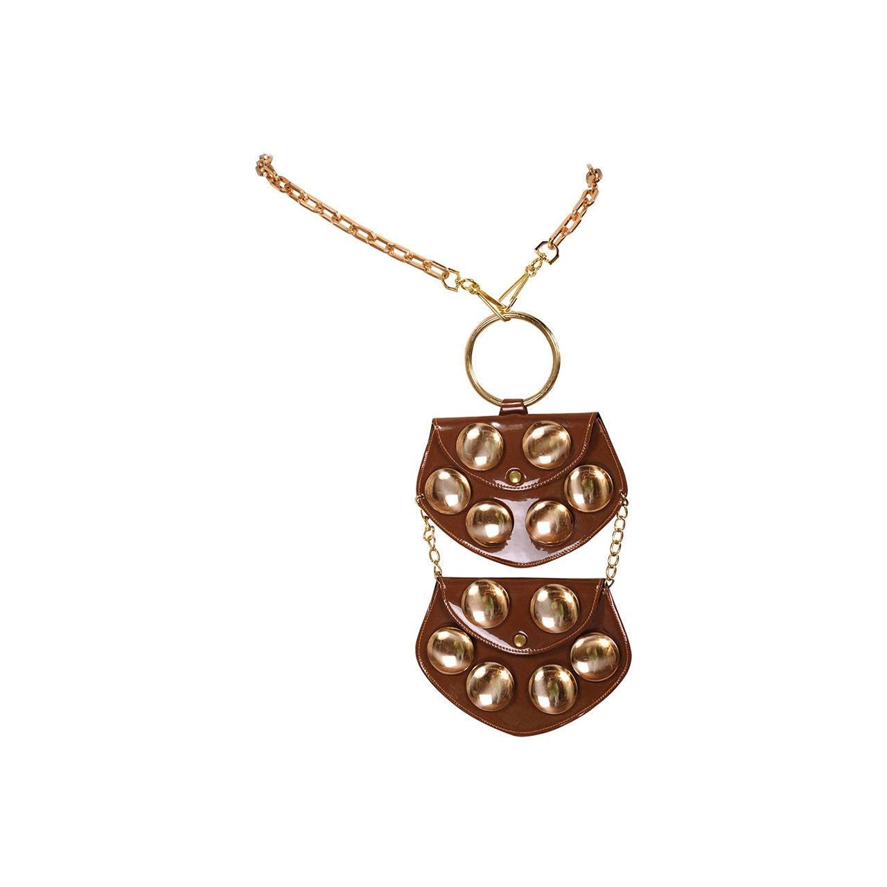 celine uk online shop - 1960's French Studded Patent Leather Belt or Hand Bag, Saks Fifth ...