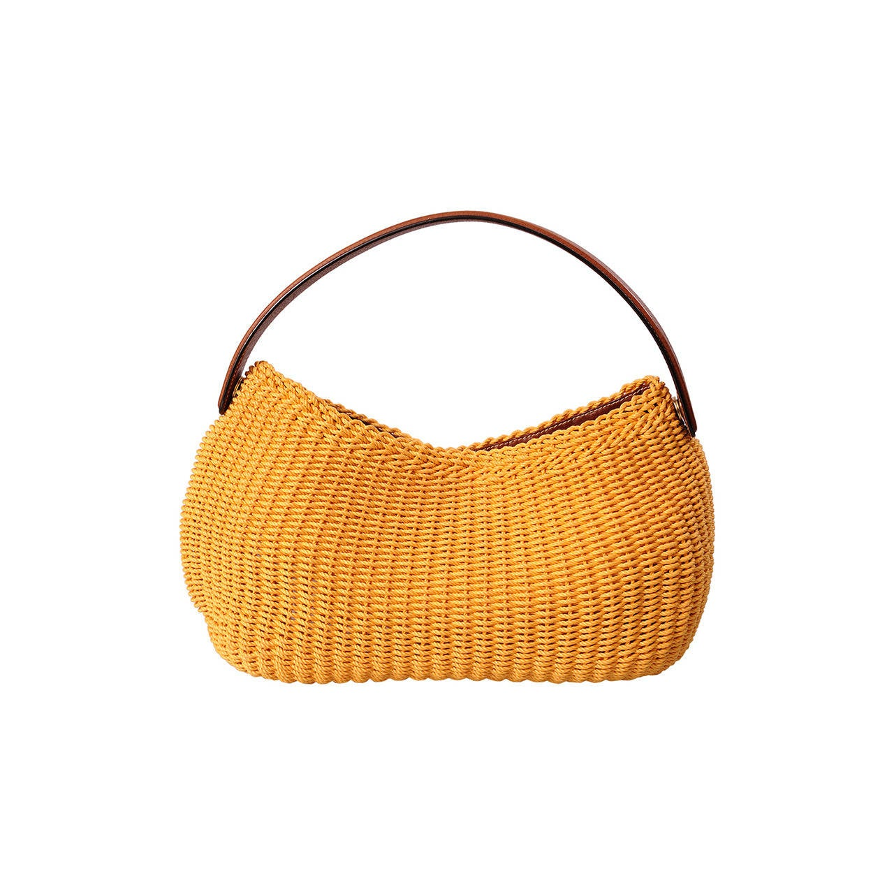 Oscar de la Renta Yellow Woven Cord Bag 1